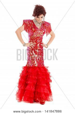 Portrait Drag Queen In Red Dress Performing