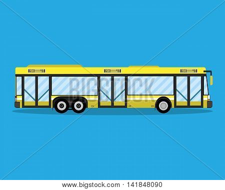 Yellow city bus. public transportation. vector illustration in flat style on blue background