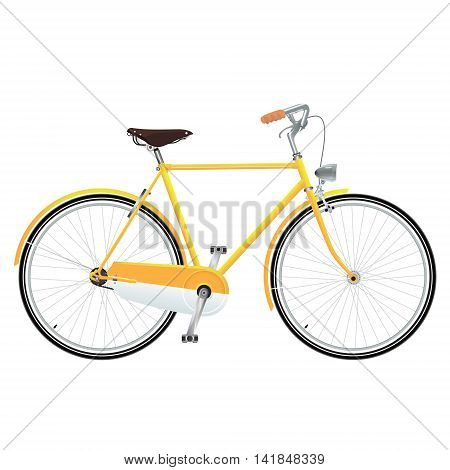 illustations vector a yellow retro bicycle for city