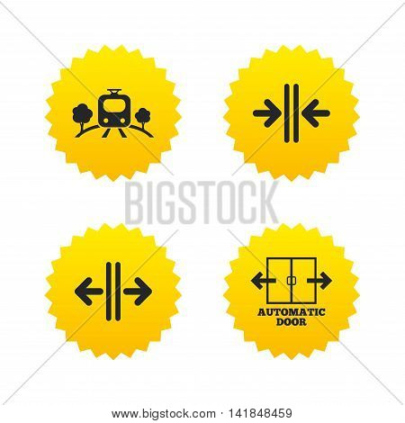 Train railway icon. Overground transport. Automatic door symbol. Way out arrow sign. Yellow stars labels with flat icons. Vector