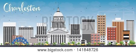 Charleston Skyline with Gray Buildings and Blue Sky. West Virginia. Business Travel and Tourism Concept with Modern Buildings. Image for Presentation Banner Placard and Web Site.