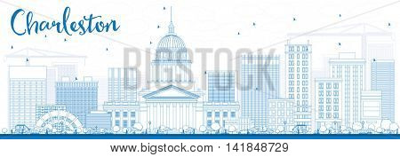 Outline Charleston Skyline with Blue Buildings. West Virginia. Business Travel and Tourism Concept with Modern Buildings. Image for Presentation Banner Placard and Web Site.