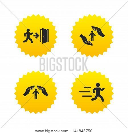 Life insurance hands protection icon. Human running symbol. Emergency exit with arrow sign. Yellow stars labels with flat icons. Vector