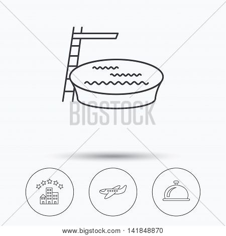 Hotel, swimming pool and airplane icons. Reception bell linear sign. Linear icons in circle buttons. Flat web symbols. Vector