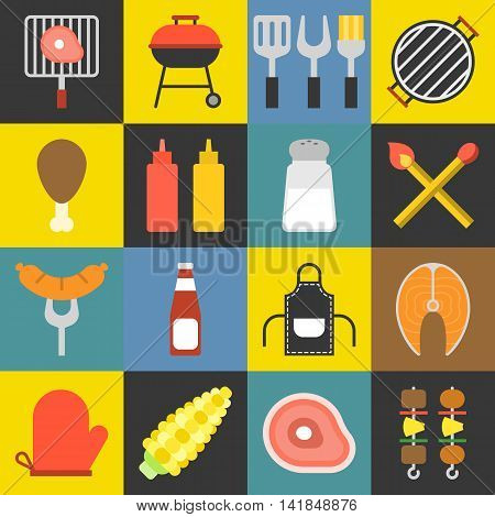 Vector barbecue icons set, flat design with color background