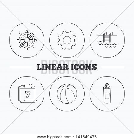Shampoo, swimming pool and ball icons. Steering wheel linear sign. Flat cogwheel and calendar symbols. Linear icons in circle buttons. Vector