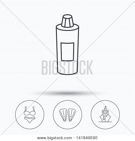 Cruise, swimming flippers and lingerie icons. Shampoo bottle linear sign. Linear icons in circle buttons. Flat web symbols. Vector