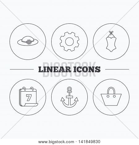 Anchor, ladies handbag and swimsuit icons. Swimsuit linear sign. Flat cogwheel and calendar symbols. Linear icons in circle buttons. Vector