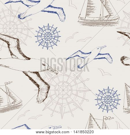Seamless vintage background with hand drawn gulls, ship and rose of winds