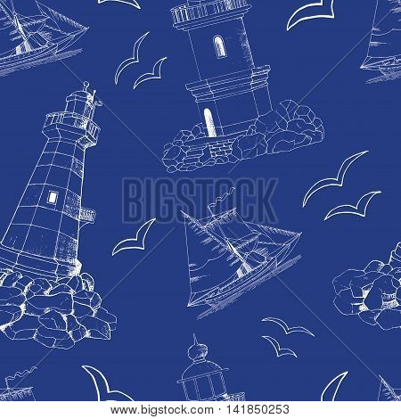 Seamless sea background with hand drawn silhouettes of light house, gulls and ship