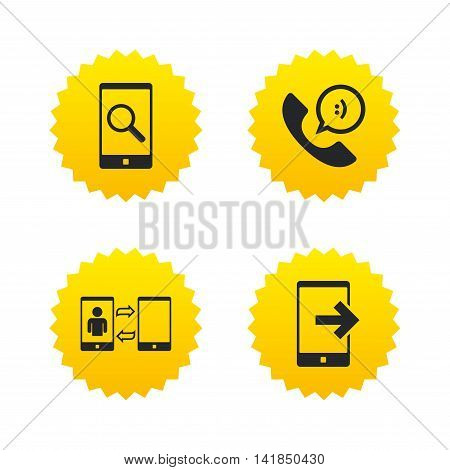 Phone icons. Smartphone with speech bubble sign. Call center support symbol. Synchronization symbol. Yellow stars labels with flat icons. Vector