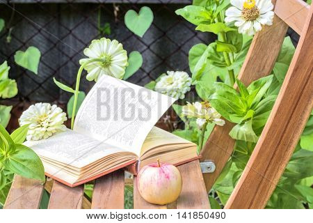 Apple and open book on wooden garden chair among the flowering white zinnias in the garden on a summer day close-up. Selective focus