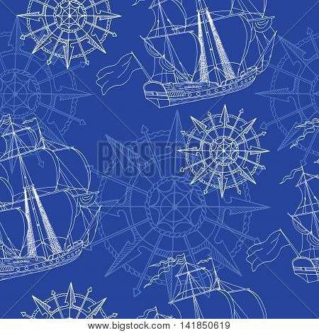 Seamless sea background with sailing ship and rose of winds, with hand drawn elements