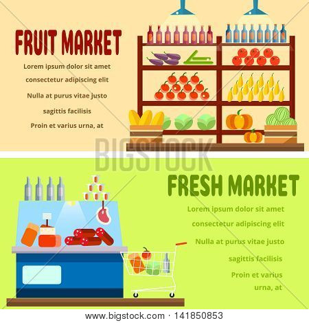 Fruit market interior shelf with fruits, vegetables, drinks, bottles. Fresh market interior shelf with different cheese, meat, bottles, drinks, preserves.Healthy food.Set of 2 flat vector illustrations