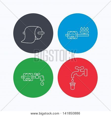 Toilet paper, gas and water counter icons. Save water linear sign. Linear icons on colored buttons. Flat web symbols. Vector