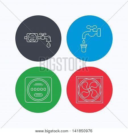 Ventilation, water counter icons. Save water, counter linear signs. Linear icons on colored buttons. Flat web symbols. Vector