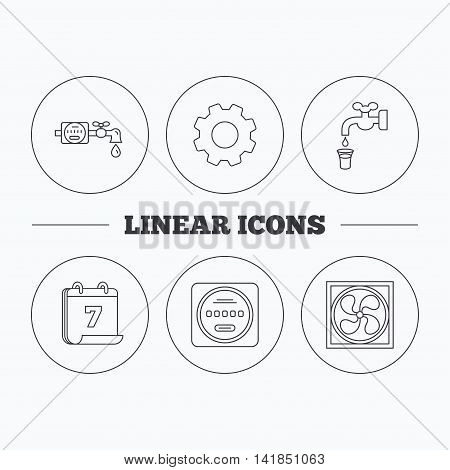 Ventilation, water counter icons. Save water, counter linear signs. Flat cogwheel and calendar symbols. Linear icons in circle buttons. Vector