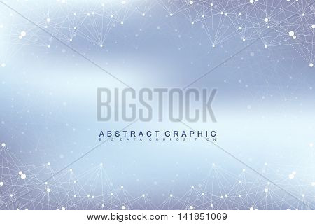 Graphic abstract background communication. Big data visualization. Connected lines with dots. Social networking. Illusion of depth and perspective. Vector illustration