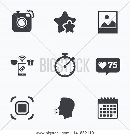 Hipster retro photo camera icon. Autofocus zone symbol. Stopwatch timer sign. Landscape photo frame. Flat talking head, calendar icons. Stars, like counter icons. Vector