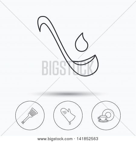 Soup ladle, potholder and kitchen utensils icons. Food and drink linear signs. Linear icons in circle buttons. Flat web symbols. Vector