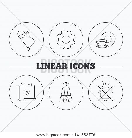 Salt, potholder and food, drink icons. Do not boil linear sign. Flat cogwheel and calendar symbols. Linear icons in circle buttons. Vector