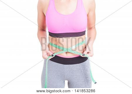 Fit Woman Holding Tape Line On Waist