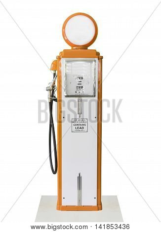 Vintage Orange Fuel Pump On White Background