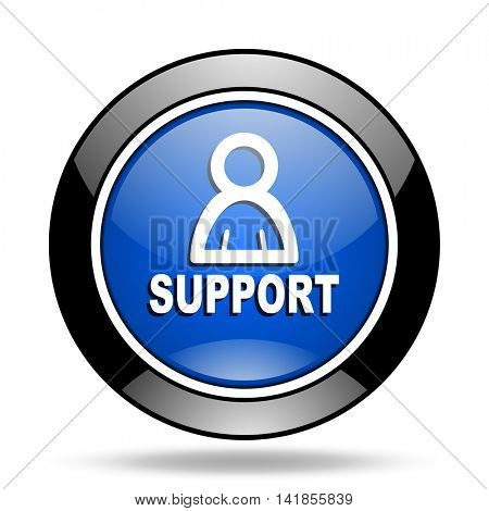 support blue glossy icon