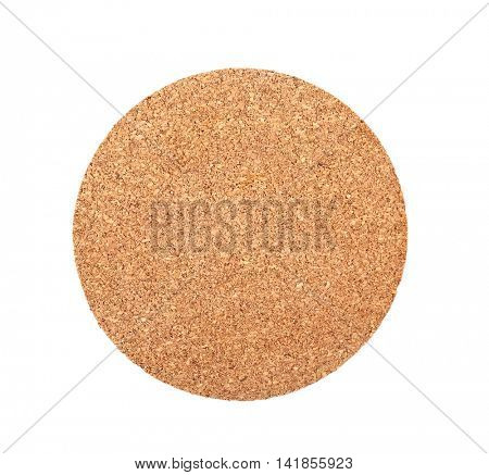 Table cork coaster on white background
