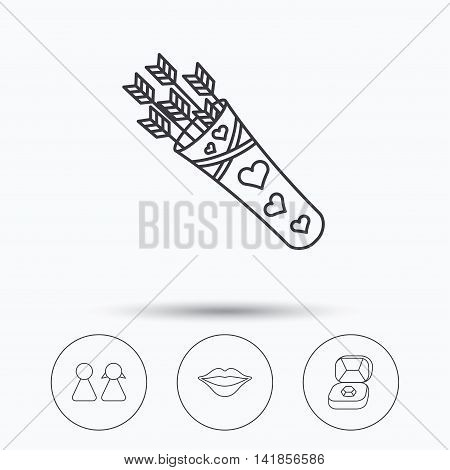 Couple, kiss lips and jewelry icons. Valentine amour arrows linear sign. Linear icons in circle buttons. Flat web symbols. Vector