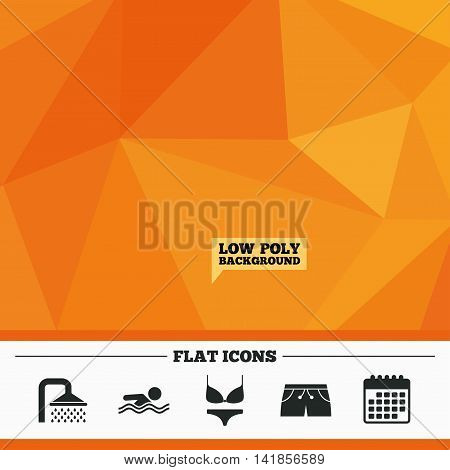 Triangular low poly orange background. Swimming pool icons. Shower water drops and swimwear symbols. Human swims in sea waves sign. Trunks and women underwear. Calendar flat icon. Vector