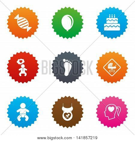 Pregnancy, maternity and baby care icons. Candy, strollers and pacifier signs. Footprint, birthday cake and heart symbols. Stars label button with flat icons. Vector