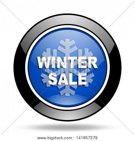 winter sale blue glossy icon