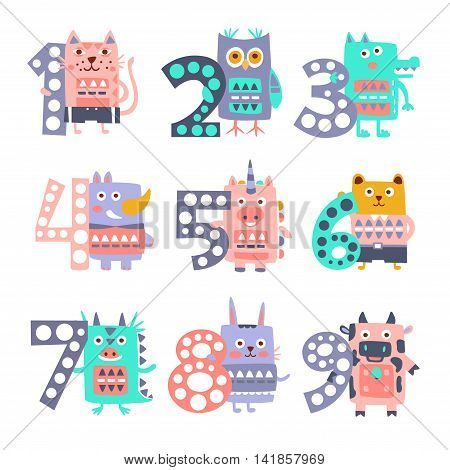 Funky Animals Standing Next To Digits Sticker Set. Stylized Colorful Flat Vector Illustrations For Kids On White Background,