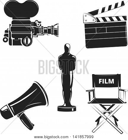 Vector elements for retro cinema, movie labels and logos