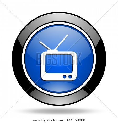 tv blue glossy icon