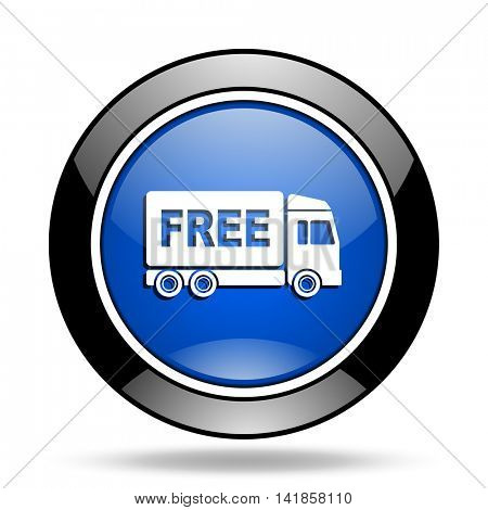 free delivery blue glossy icon