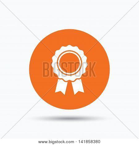Medal icon. Winner award emblem symbol. Orange circle button with flat web icon. Vector