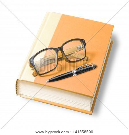 book with glasses and pen. isolated on white background