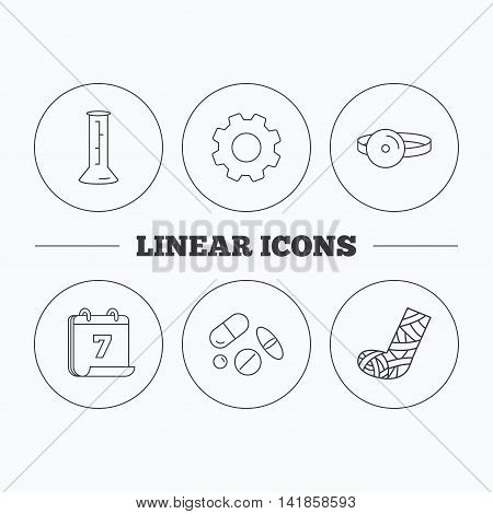 Gypsum, lab beaker and medical pills icons. Medical mirror linear sign. Flat cogwheel and calendar symbols. Linear icons in circle buttons. Vector