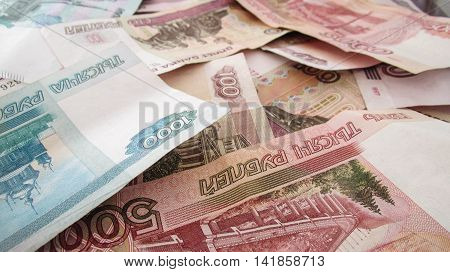 Huge lot of Russian rubles, background
