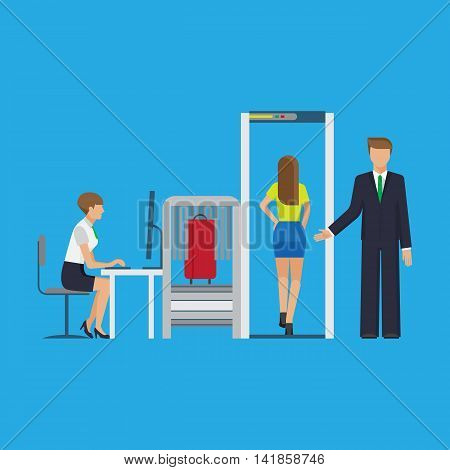 Airport security equipment for scanning the luggage. Vector flat colorful illustration.