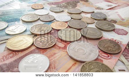Huge lot coins Russia, Russian rubles, background