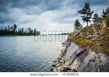 Ladoga Lake Landscape With Trees On Rock