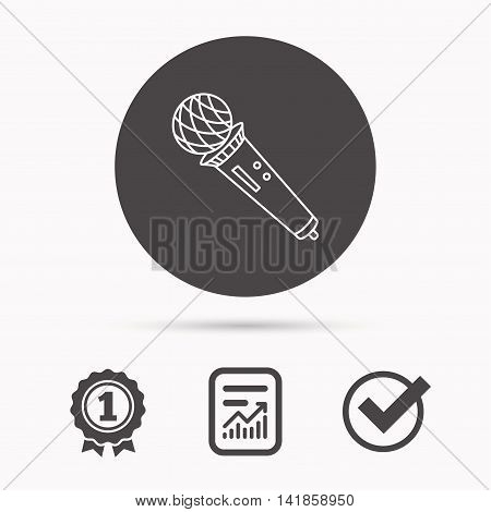 Microphone icon. Karaoke or radio sign. Report document, winner award and tick. Round circle button with icon. Vector