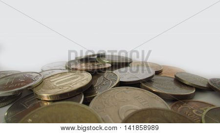 Huge lot coins Russia, Russian rubles, out of focus, background