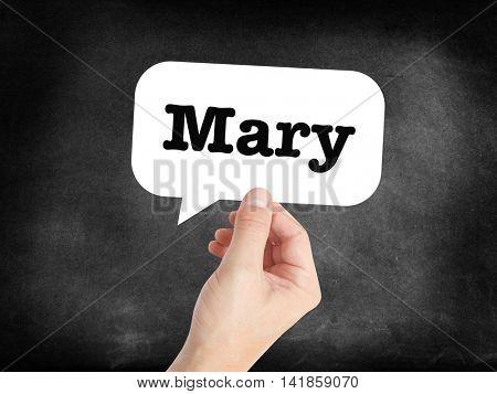 Mary written in a speechbubble
