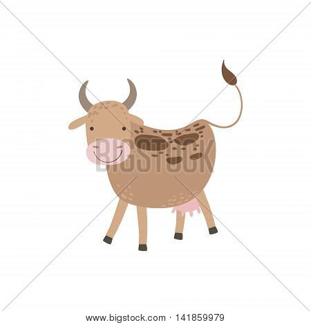 Cow With Brown Spots And Udder Standing Stylized Cute Childish Flat Vector Drawing Isolated On White Background