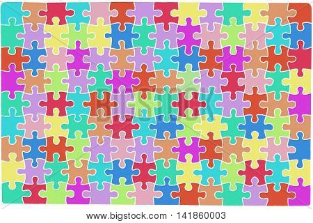 Color puzzle with a white border, a lot of puzzles of different colors