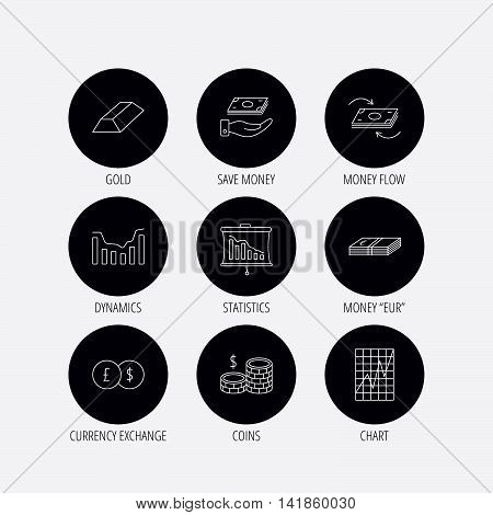 Banking, cash money and statistics icons. Money flow, gold bar and dollar usd linear signs. Dynamics chart, coins and savings icons. Linear icons in circle buttons. Flat web symbols. Vector